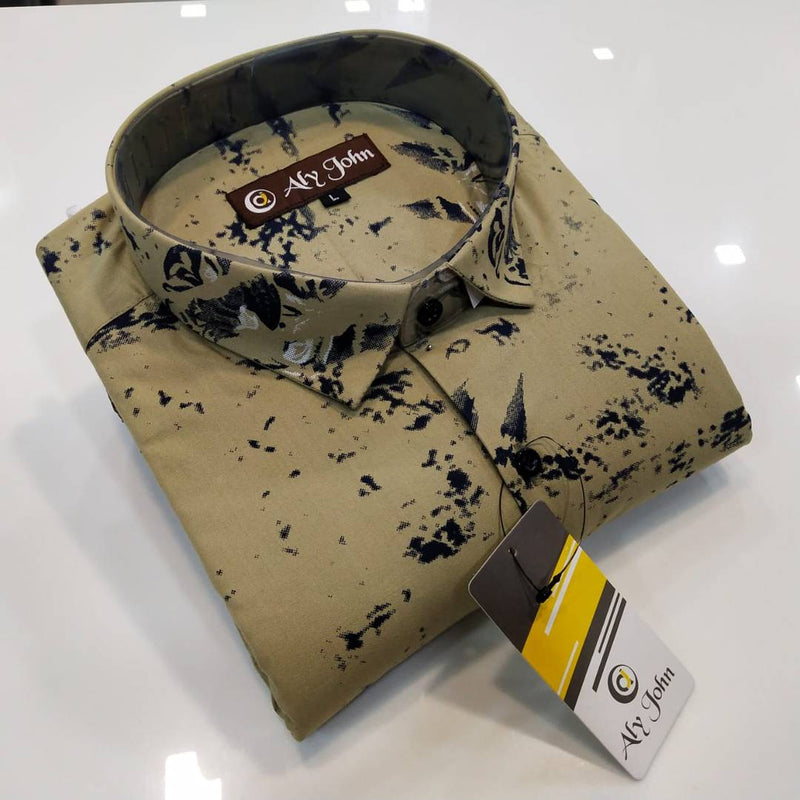 Men's Olive Cotton Printed Long Sleeves Regular Fit Casual Shirt
