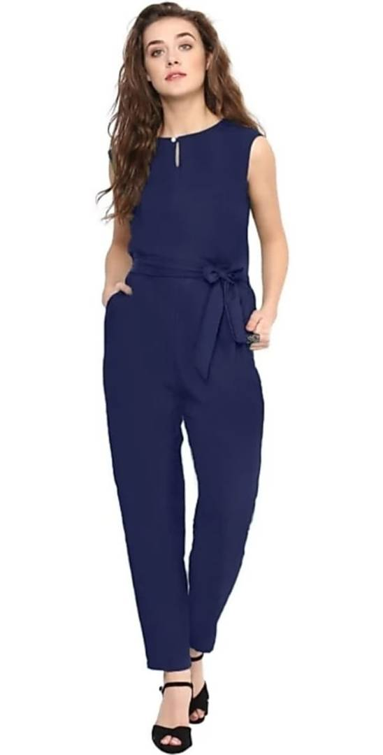 Alluring Navy Blue Solid Rayon Women's Jumpsuit