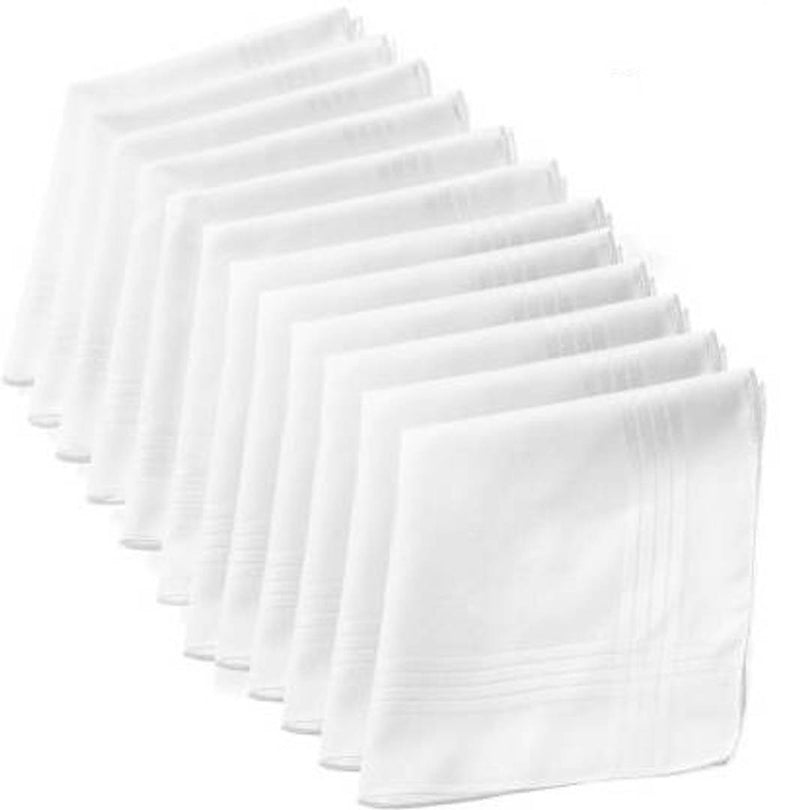 Men's White Cotton Handkerchief 17 x 15 inch pack of 12