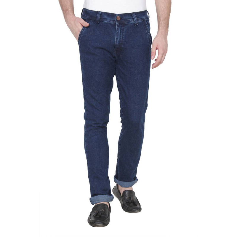 Men's Navy Blue Cotton Blend Solid Regular Fit Mid-Rise Jeans