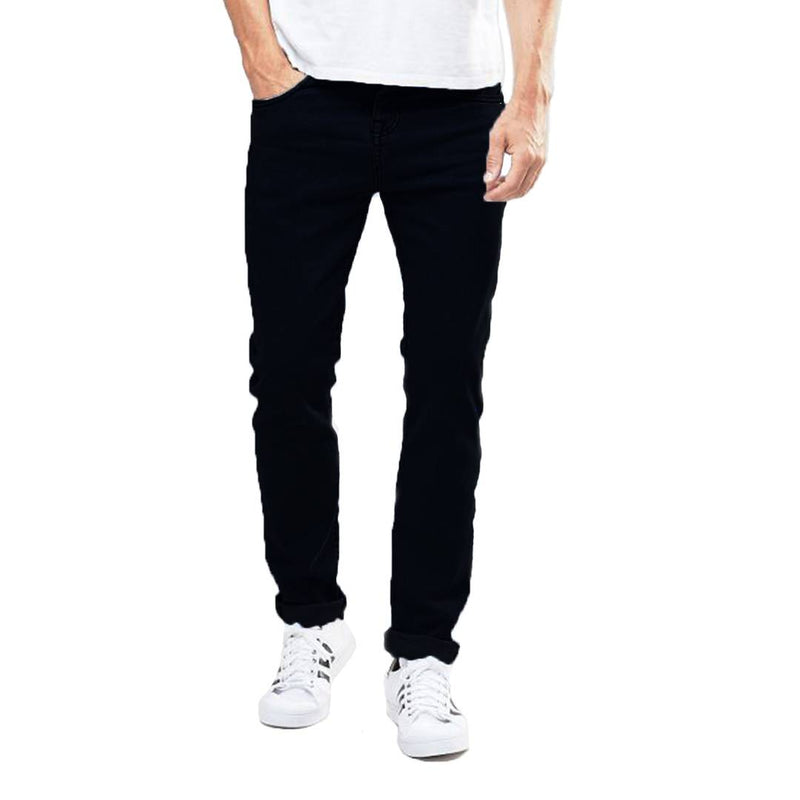 Men's Black Cotton Blend Solid Regular Fit Mid-Rise Jeans