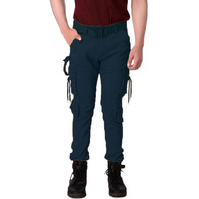 Men's Blue Cotton Blend Mid-Rise Solid Regular Fit Cargo
