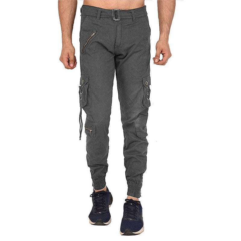 Men's Grey Cotton Blend Mid-Rise Solid Regular Fit Cargo