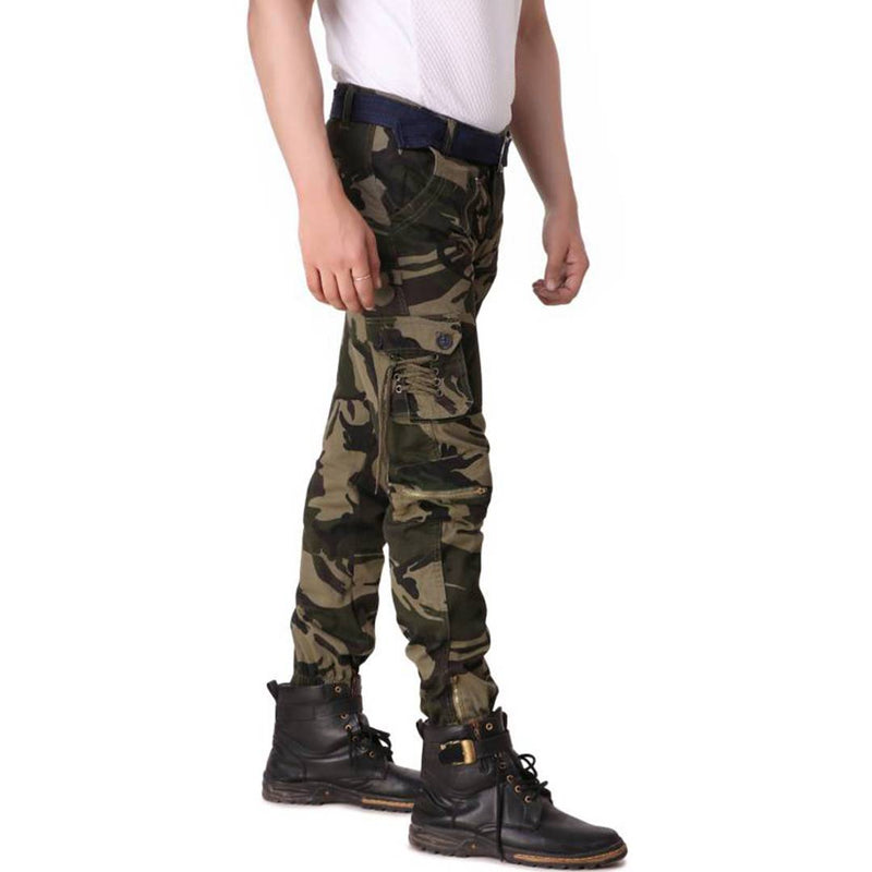 Men's Multicoloured Cotton Blend Mid-Rise Printed Regular Fit Cargo