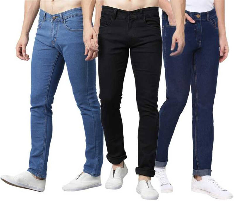 Men's Regular Fit Mid Rise Stretchable Jeans Combo Of 3