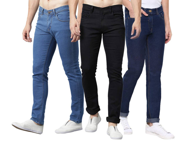Men's Regular Fit Mid Rise Cotton Spandex Stretchable Jeans Combo Of 3