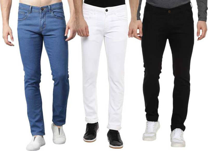 Men's Multicoloured Regular Fit Mid Rise Stretchable Jeans Combo Of 3