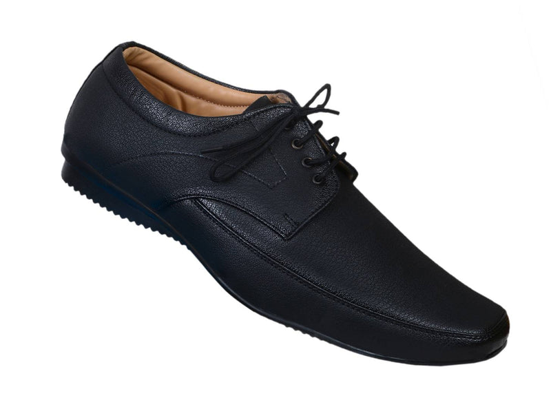 Black Solid Formal Lace Up Shoes for Men