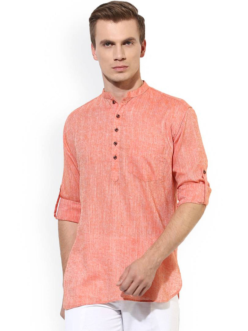 Men's Peach Solid Polycotton Short Length Kurta