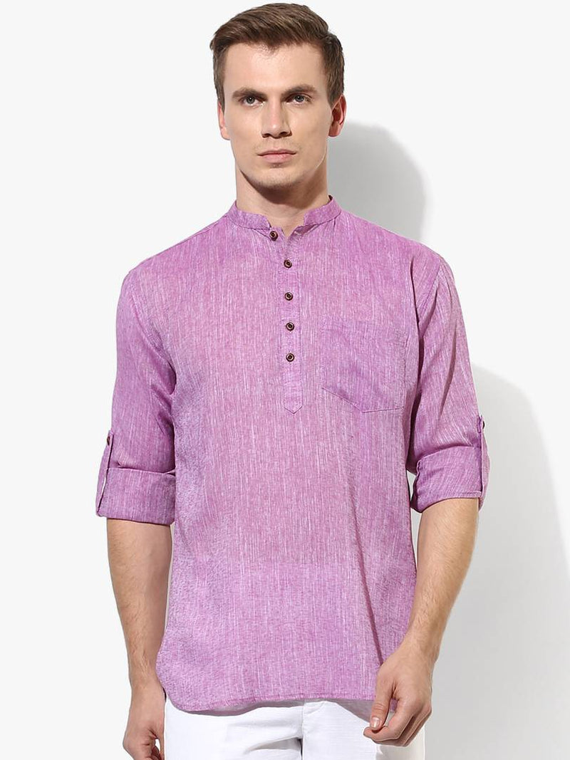 Men's Purple Solid Polycotton Short Length Kurta