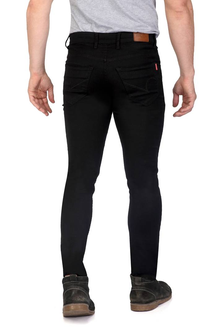 Men's Black Denim Solid Slim Fit Low-Rise Jeans