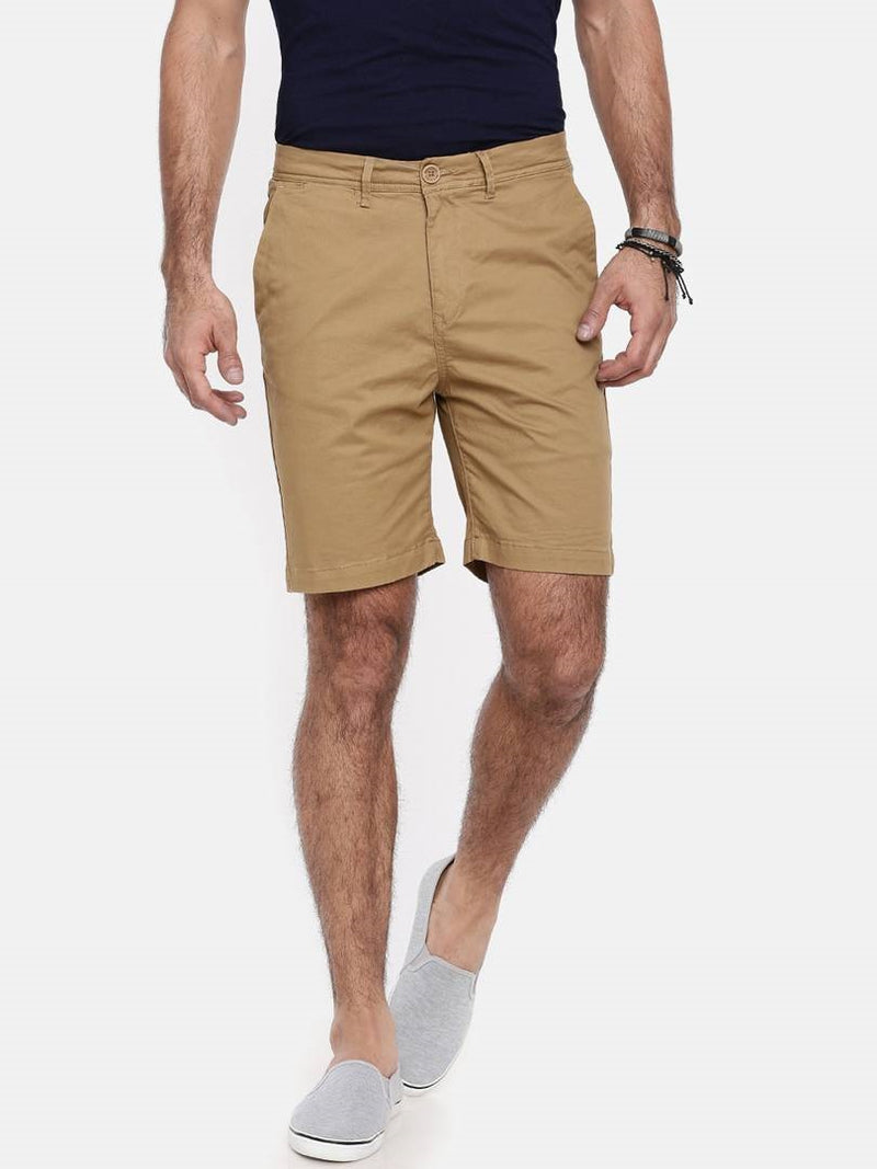 Men's Beige Cotton Solid Regular Fit Shorts