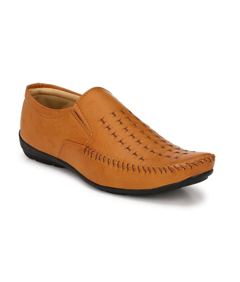Alluring Tan Synthetic Leather Solid Men's Formal Shoes