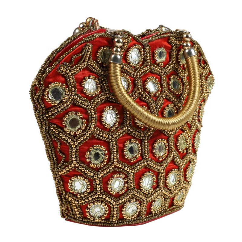 Handicrafts Designer Silk Party Wear Wrist Clutch