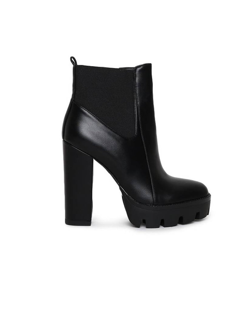 Elegant Black Solid Synthetic Leather Women's Heeled Boots
