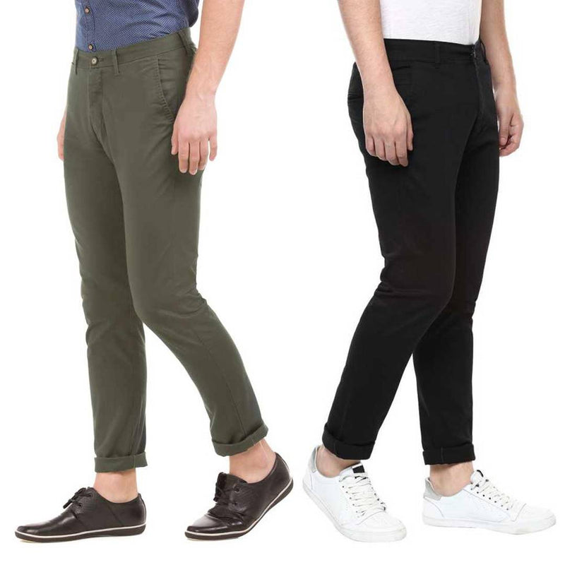 Men's Multicoloured Cotton Blend Mid-Rise Solid Slim Fit  Trendy Chinos (Pack of 2)