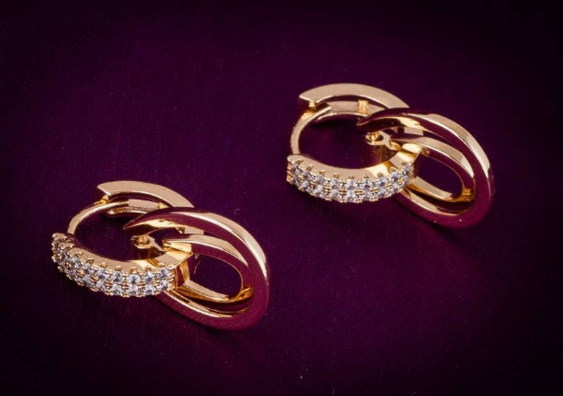 Gold Plated Alloy Metal Fashion American Diamond Stud Earrings