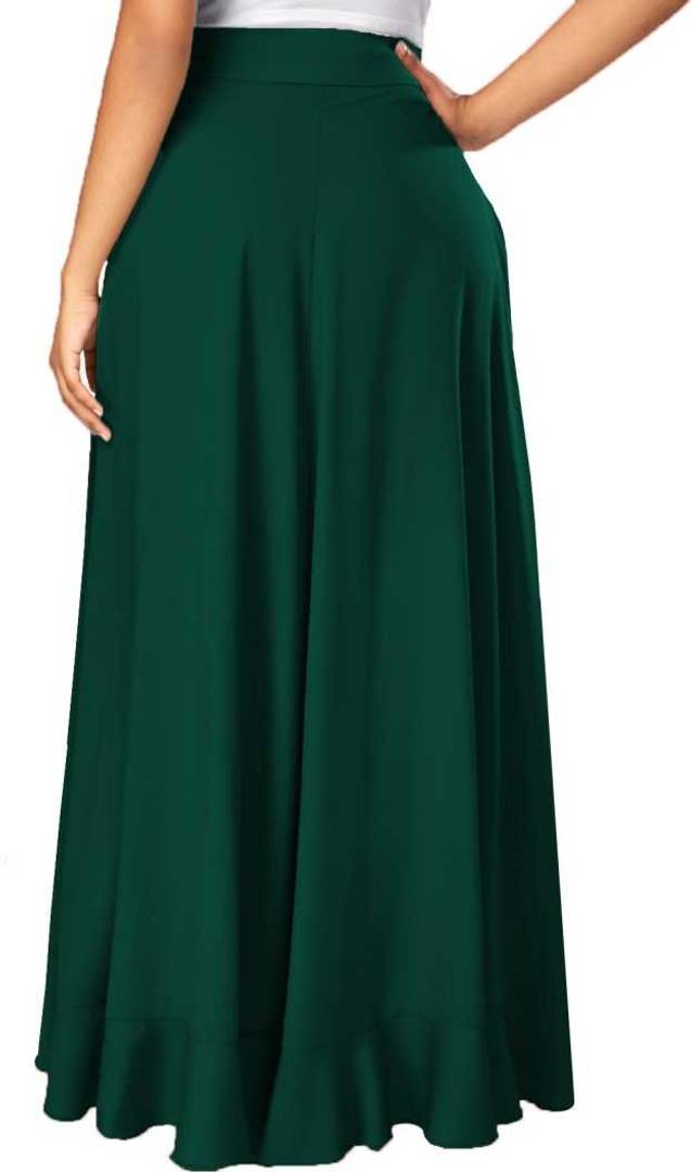 Women Green Crepe Solid Trouser