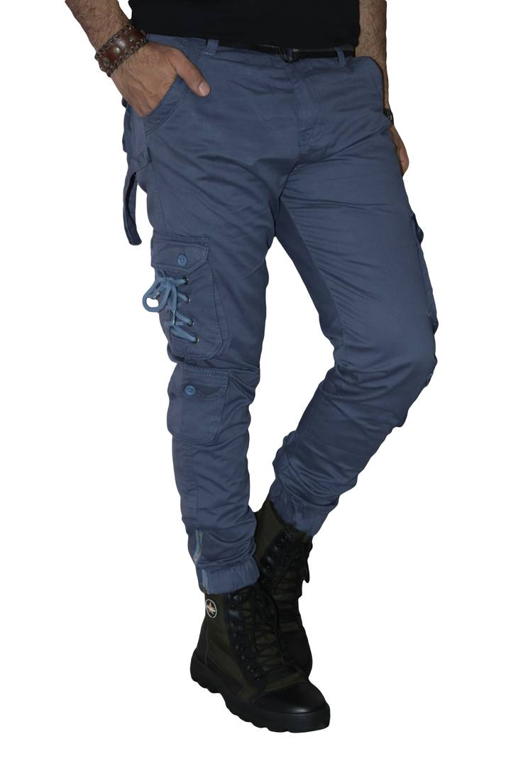 Men's Navy Blue Cotton Mid-Rise Regular Fit Cargos