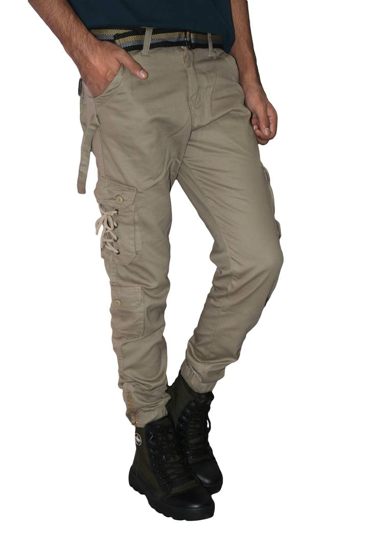 Men's Off White Cotton Mid-Rise Regular Fit Cargos