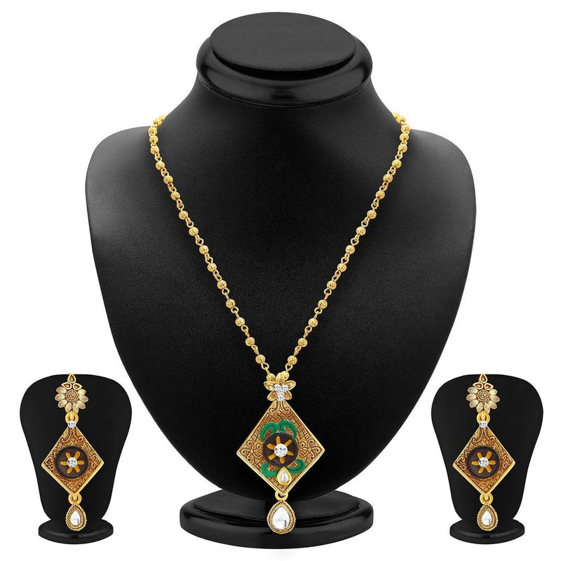 Artistically Gold Plated Pendant Set For Women