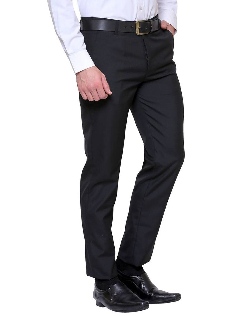 Men's Black Synthetic Solid Mid-Rise Slim Fit Formal Trouser
