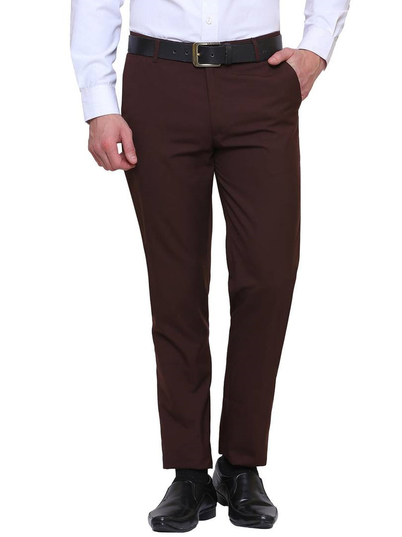 Men's Brown Synthetic Solid Mid-Rise Slim Fit Formal Trouser