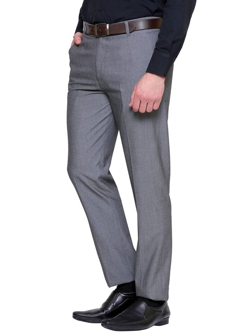Men's Grey Synthetic Solid Mid-Rise Slim Fit Formal Trouser