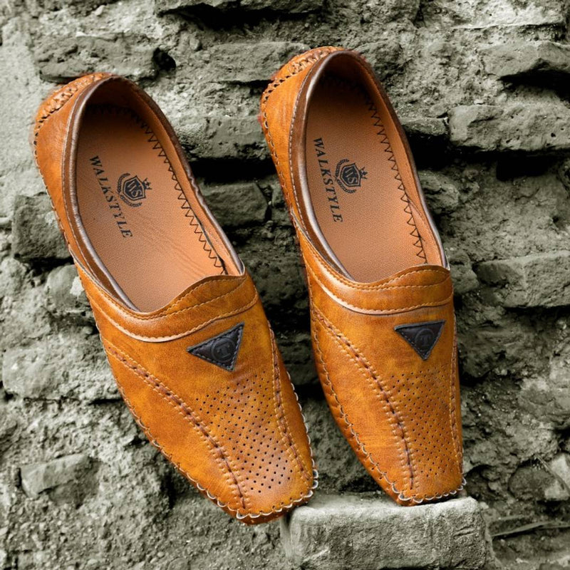 Men's Tan Mojaris Designer Slip On Casual Shoes