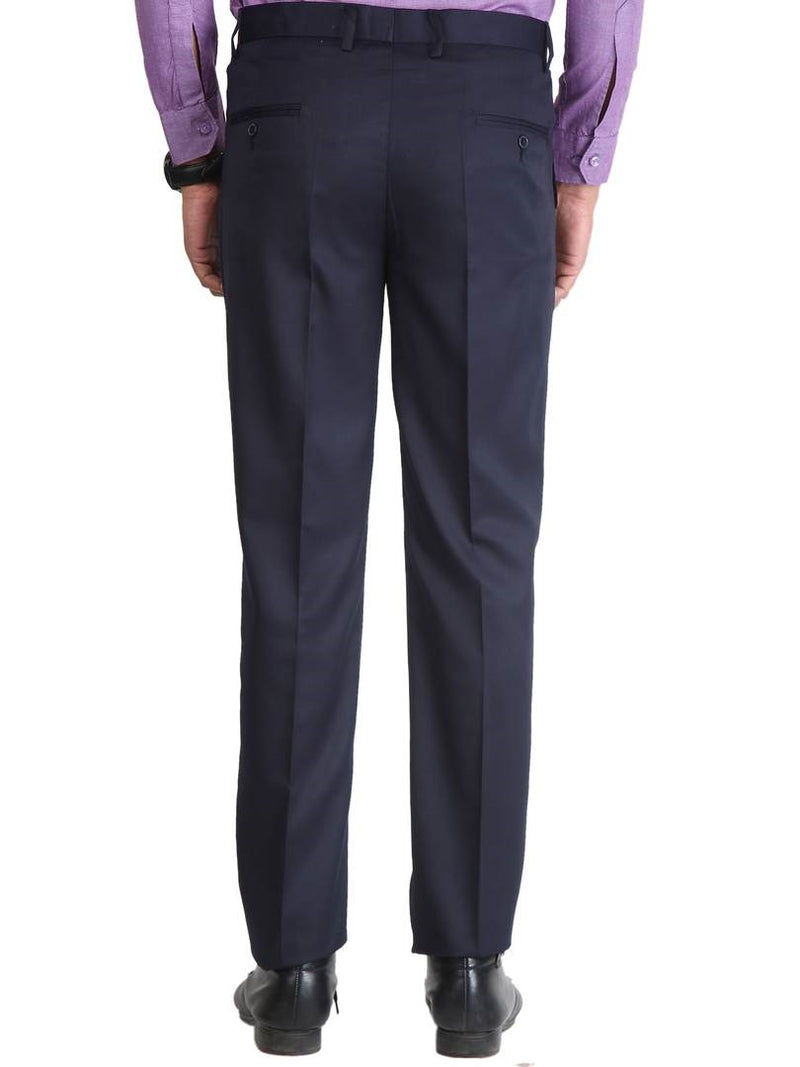 Men's Blue Slim Fit Formal Trouser
