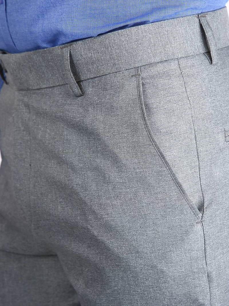 Men's Light Grey Slim Fit Formal Trouser