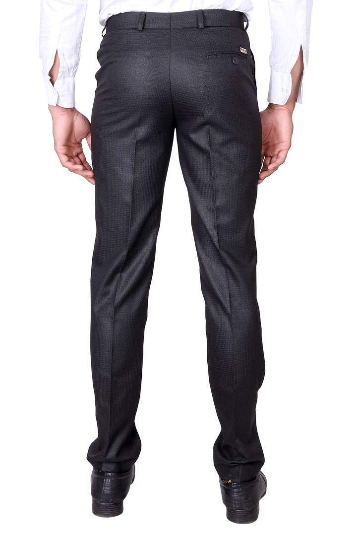 Men's Grey Polyester Blend Solid Mid-Rise Formal Trouser