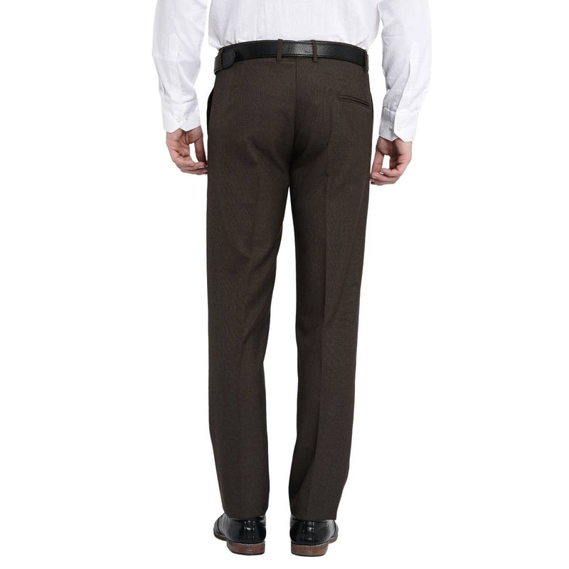 Men's Brown Polyester Blend Solid Mid-Rise Formal Trouser