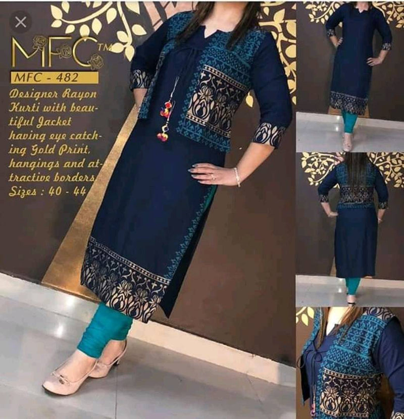 Elegant Women's Rayon Kurti  With Gold Printed Jacket