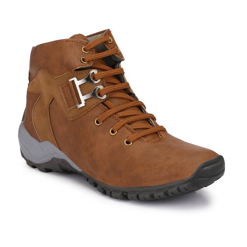 Men's Brown Synthetic Solid Heeled Boots
