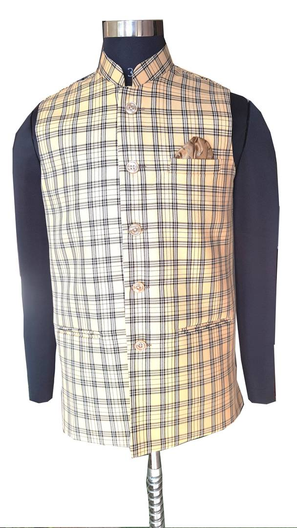 Men's Beige Jute Checked Nehru Jackets with Pocket Square