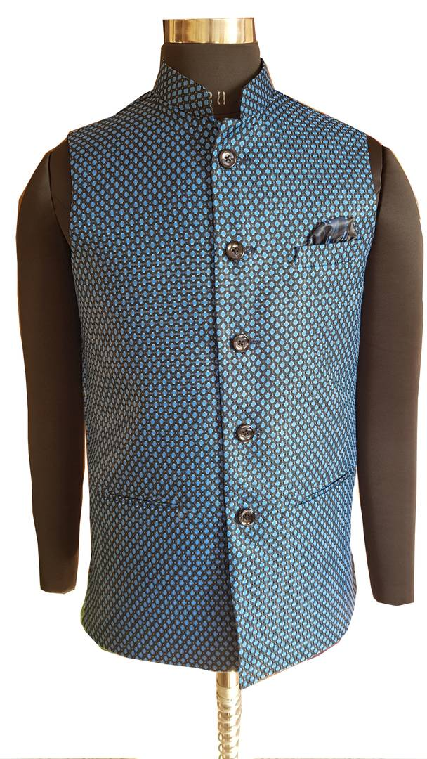 Men's Blue Jute Jacquard Nehru Jackets with Pocket Square