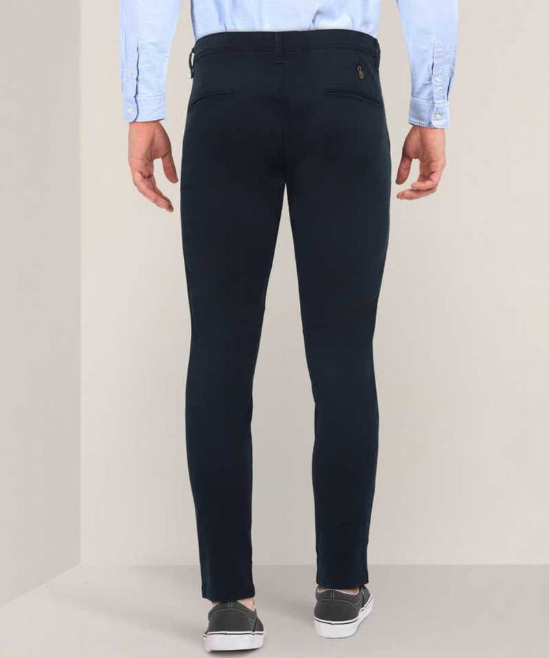 Men's Navy Blue Cotton Spandex Solid Mid-Rise Casual Regular Trouser
