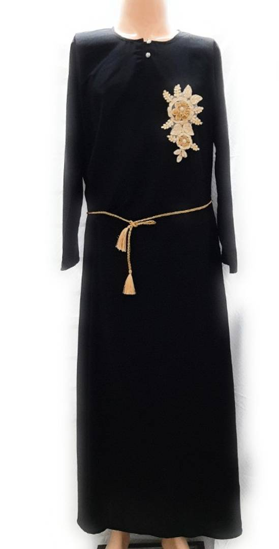 Women's Satin (Crystal Fabric) Solid Abaya