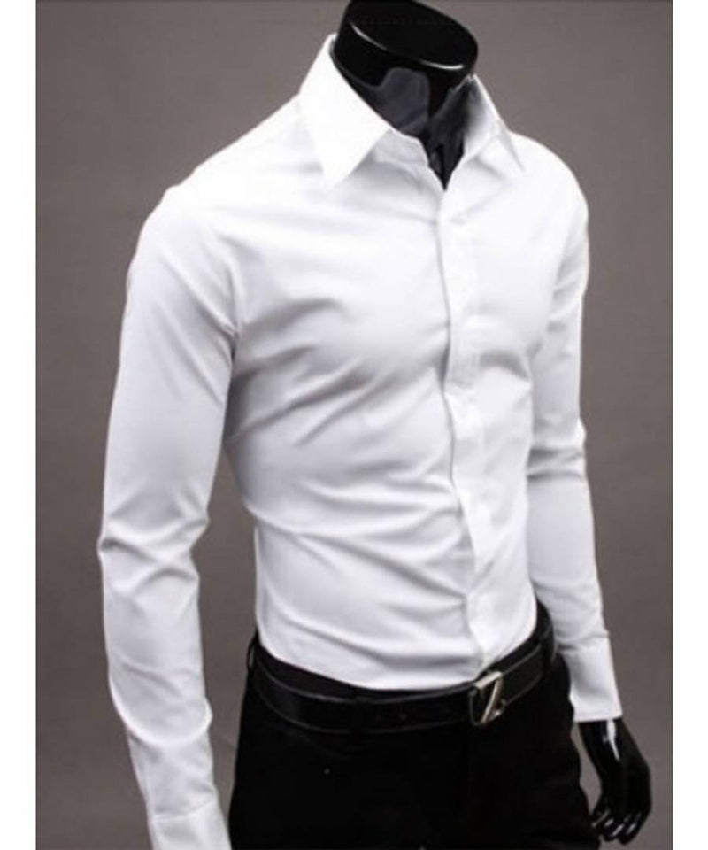 Men's White Cotton Solid Long Sleeves Regular Fit Formal Shirt