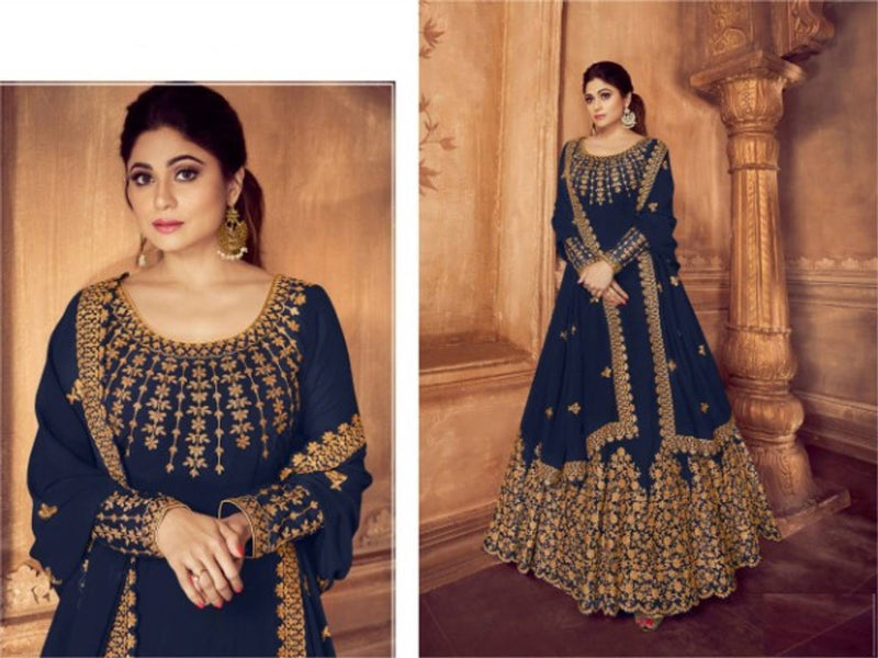 Heavy Georgette Chenstich Work Semi Stitched Dress Material With Dupatta