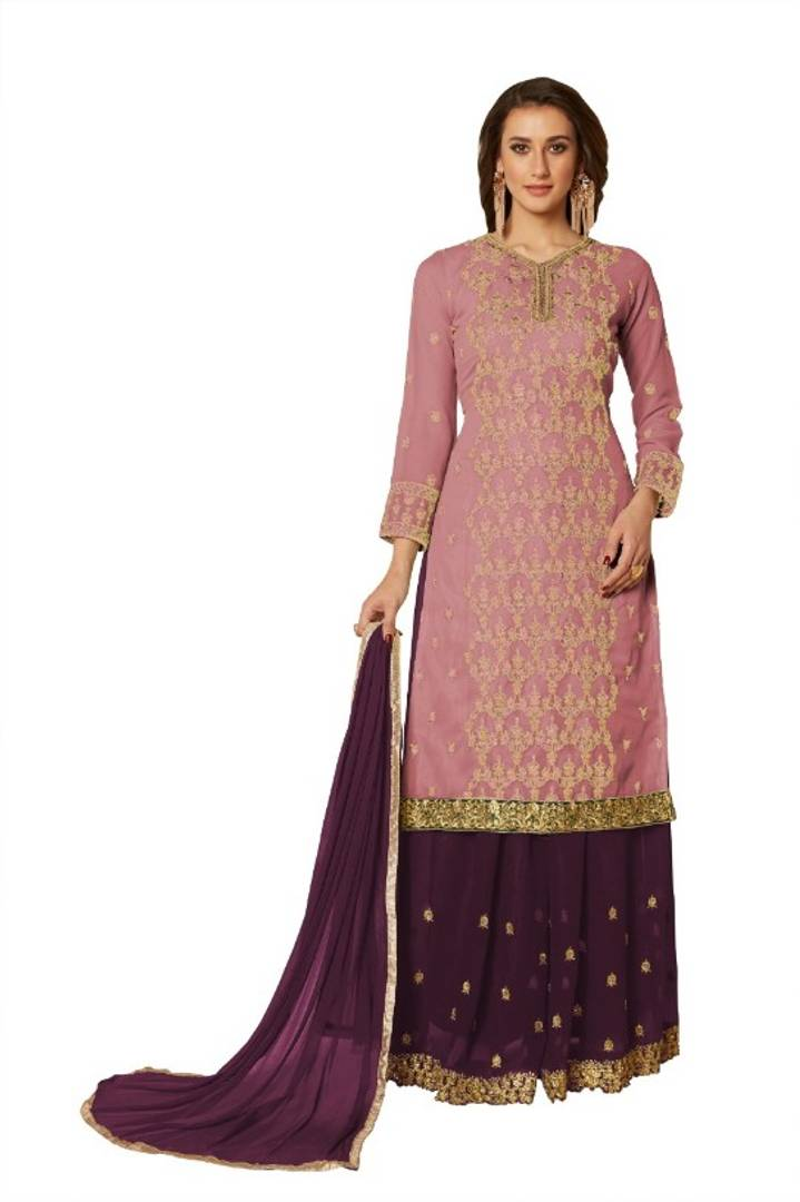 Women's Embroidered Georgette Semi Stitched Salwar Suit Set