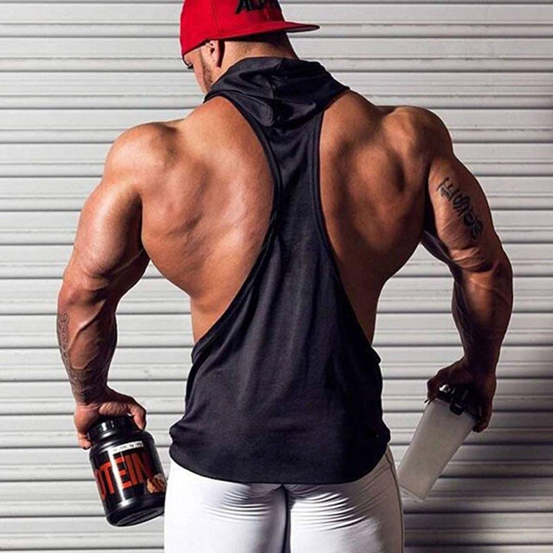 Bodybuilding Mens Gym Cotton Blend sleeveless Hooded Stringer