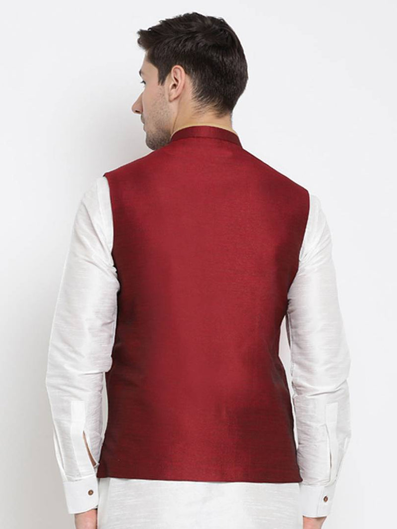 Vastramay Men's Maroon Cotton Silk Blend Solid Ethnic Jackets