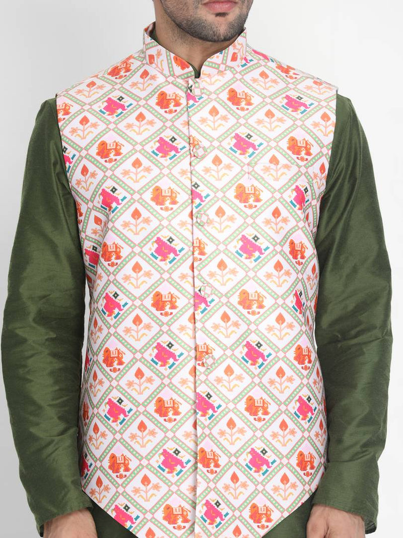 Vastramay Men's Multicoloured Silk Blend Printed Ethnic Jackets