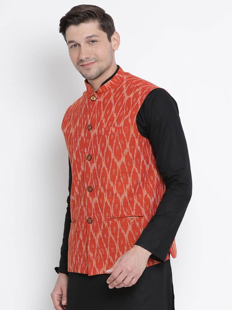 Vastramay Men's Orange Cotton Printed Ethnic Jackets