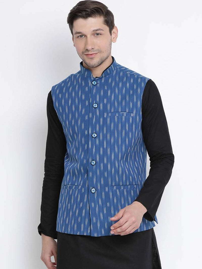 Vastramay Men's Blue Cotton Printed Ethnic Jackets