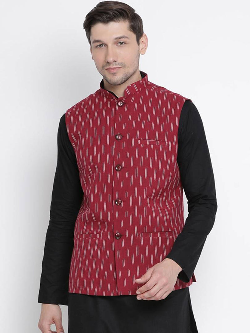 Vastramay Men's Maroon Cotton Printed Ethnic Jackets