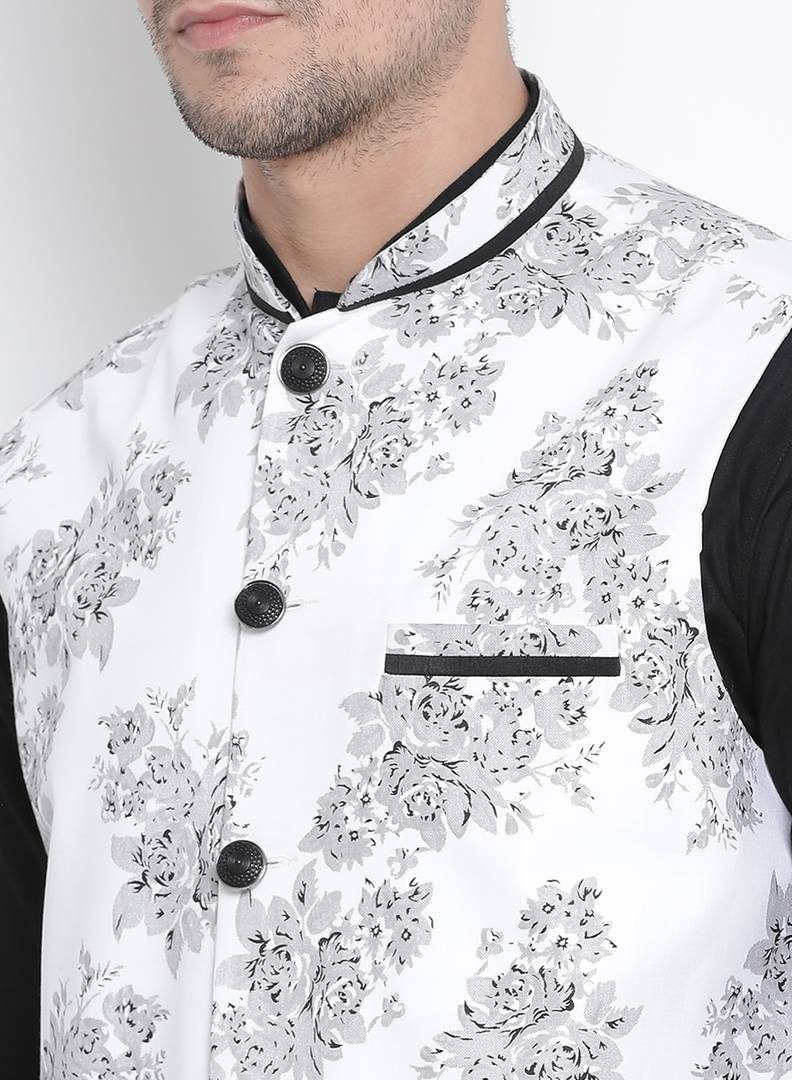 Vastramay Men's White Cotton Blend Printed Ethnic Jackets