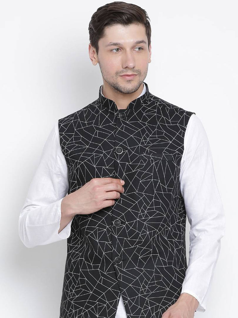 Vastramay Men's Black Cotton Blend Printed Ethnic Jackets